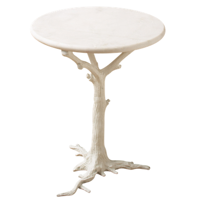 White Faux Bois Side Table - Domino