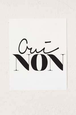 "Letters On Love Oui Non Art Print - 8"" x 10"" - Unframed - Urban Outfitters"
