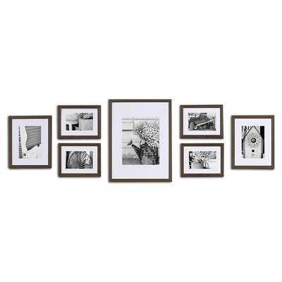 Gallery Solutions 7 Piece Wall Frame Set - Walnut - Target