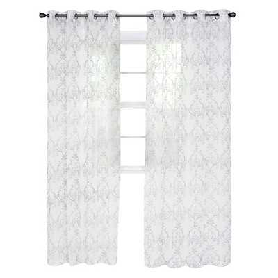 """Yorkshire Home Valencia Embroidered Curtain - 84"""" - Silver - Target"""