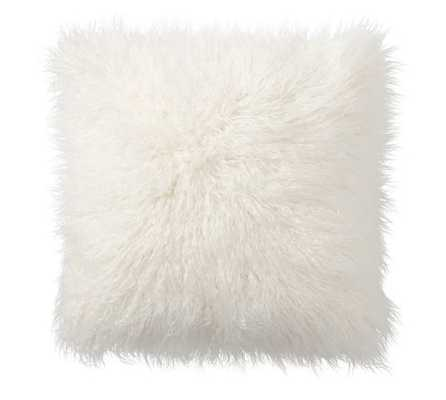 """Mongolian Faux Fur Pillow Cover, 12 X 24"""", Ivory- Insert sold separately - Pottery Barn"""