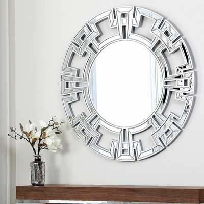 ABBYSON LIVING Pierre Silver Round Wall Mirror - Overstock