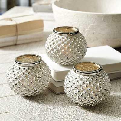 Textured Mercury Glass Candle Holders - Set of 3 - Ballard Designs