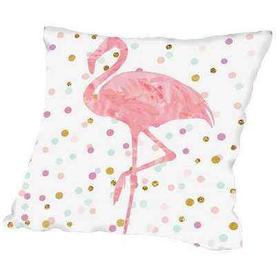 "Pink Flamingo on Confetti Throw Pillow - 18"" - with insert - Wayfair"