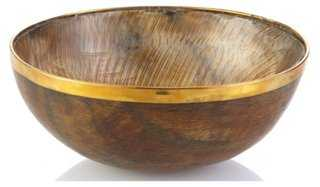 "7"" Horn Bowl w/ Brass, Natural - One Kings Lane"