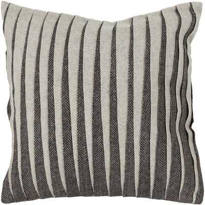 "Textured Contemporary Wool Throw Pillow, 22""Sq, Gray and cream, Down/Feather insert - Wayfair"