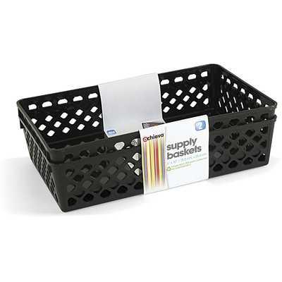 Achieva Large Supply Basket, Pack of 2, Recycled, Black - Amazon