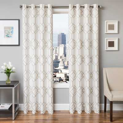 Softline Quincy Embroidered Grommet Top Curtain Panel - 96L x 54W - Hayneedle