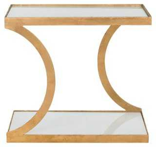 Tate Side Table, Gold/White Glass - One Kings Lane