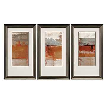 Mandarin Sunset - Set of 3 - 23x39 - Framed - Z Gallerie