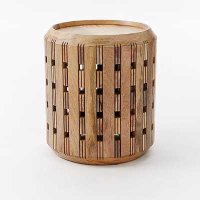 Pierced Wood Drum Side Table - West Elm