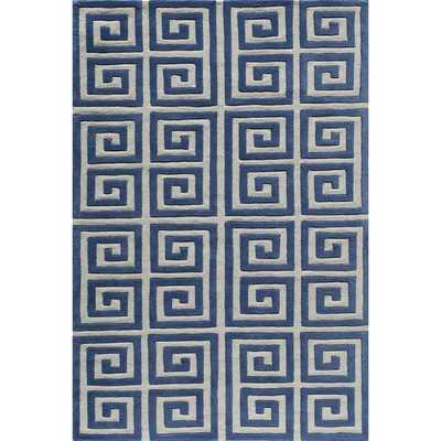 Greek Key Blue Hand-Tufted Rug - Overstock