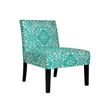 angelo:HOME Bradstreet Modern Damask Turquoise Blue Upholstered Armless Chair - Overstock