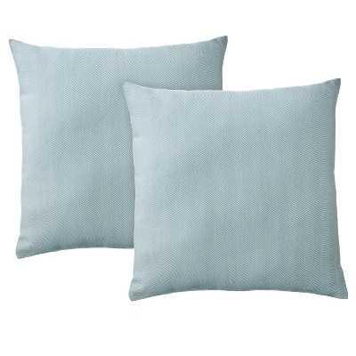 "2-Pack Herringbone Toss Pillows (18x18"")-Blue, Polyster insert - Target"