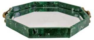 Malachite-Style Mirrored Tray - One Kings Lane