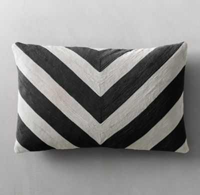 Geometric Soutache Linen Chevron Pillow Cover - Lumbar - RH