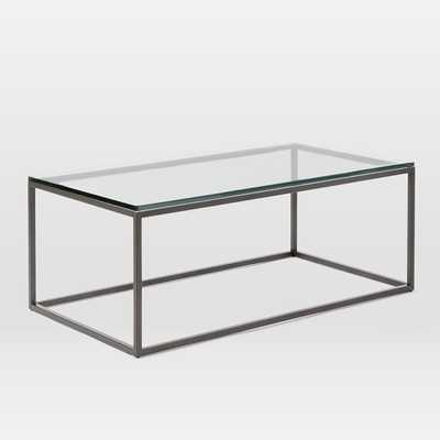 Box Frame Coffee Table - Glass/Antique Bronze - West Elm