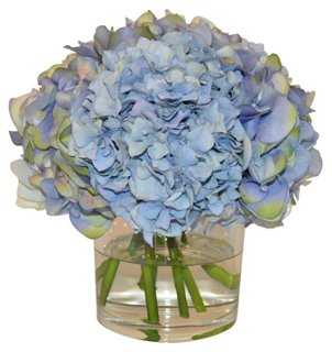 Hydrangea in Cube Vase, Faux - One Kings Lane