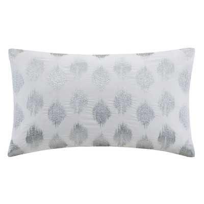 "Nadia Dot Embroidered Cotton Lumbar Pillow - Silver - 12"" x 18""- Polyfill insert - Wayfair"