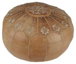Starburst Leather Pouf - One Kings Lane