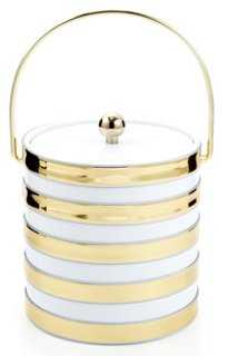 Striped Ice Bucket, White - One Kings Lane