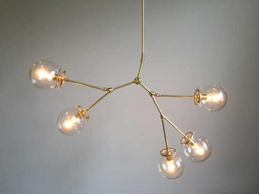 5-Globe Brass Reef Chandelier Lighting - Brass, Clear - Etsy
