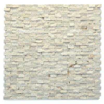 Marble Mesh-Mounted Mosaic Wall Tile - Tan - Home Depot