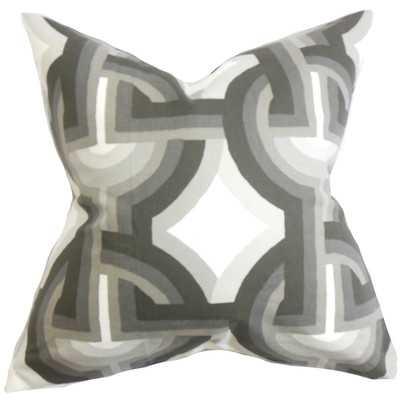 "Rineke Geometric Cotton Throw Pillow - Dove - 18""x18"" - Down/Feather Fill - Wayfair"