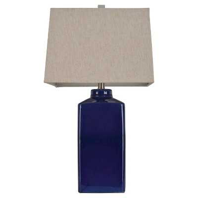 "Ceramic Table Lamp - 26.5""H - Navy Blue/Beige - Target"