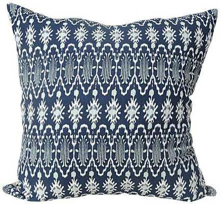 "TRIBAL IKAT PILLOW- Blue-18""Hx18""Wx4""D- Polyester insert - Home Decorators"