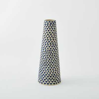 Indigo Ceramic Large Triangles Jar Indigo/White - West Elm