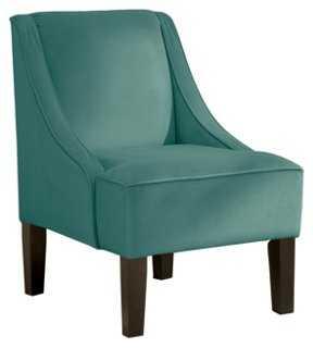 Fletcher Swoop-Arm Chair, Teal - One Kings Lane