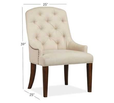 Lorraine Tufted Upholstered Armchair - Linen, Natural - Pottery Barn