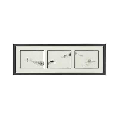 "Intervals Triptych Print - 60.75""Wx20.75""H - Framed - Crate and Barrel"