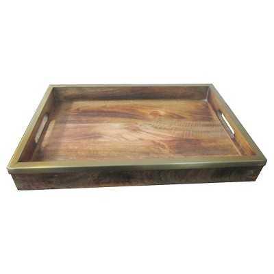 "Dark Wood and Brass Tray - Thresholdâ""¢ - Target"