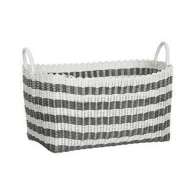 Grey-White Stripe Laundry Hamper - Crate and Barrel