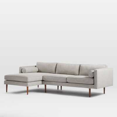 Monroe Mid-Century Left Chaise 2-Piece Sectional - Linen Weave, Platinum - West Elm
