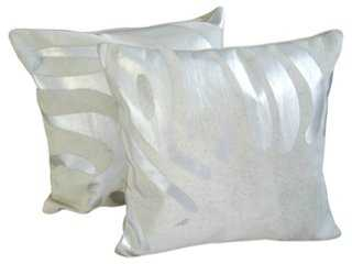 Metallic Zebra Cowhide Pillows, Pair - One Kings Lane