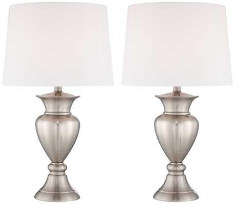 Roslyn Set of 2 Brushed Steel Metal Table Lamps - Lamps Plus