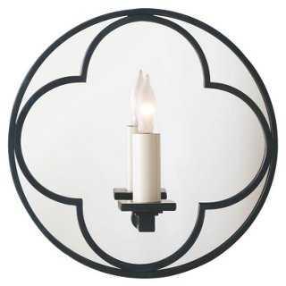 Quatrefoil Round Mirrored Sconce, Bronze - One Kings Lane