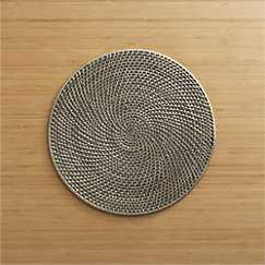 Grey Rattan Placemat and Adobe Napkin - Crate and Barrel
