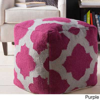 Hand Crafted Moroccan Trellis 18-inch Square Pouf-Purple - Overstock