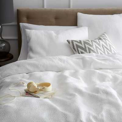 Organic Matelasse Duvet Cover-King-Stone White - West Elm