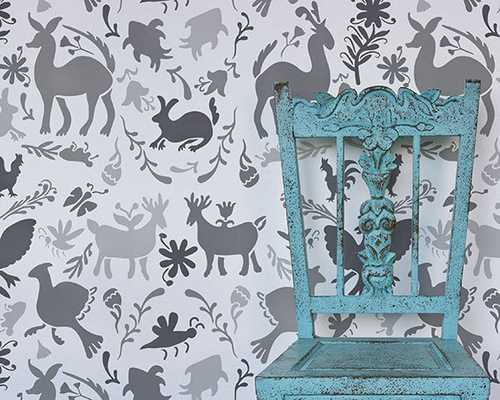 Mexican Otomi Allover Damask Wall Stencil for Wallpaper Look - Etsy