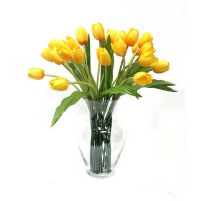 Tulips in Glass Vase-Yellow - AllModern
