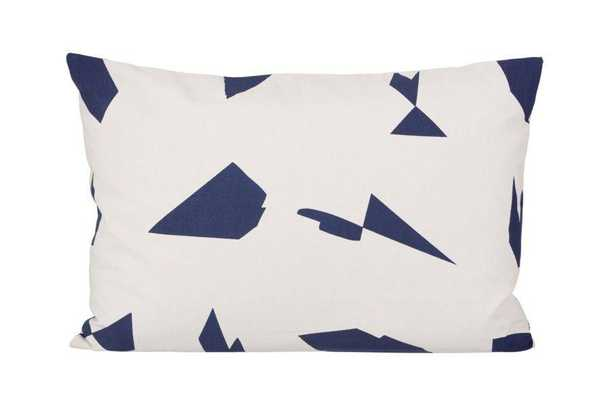 """Organic Cotton Cut Cushion Off White- 23.62"""" L X 15.75"""" W- Feather and down insert - Domino"""