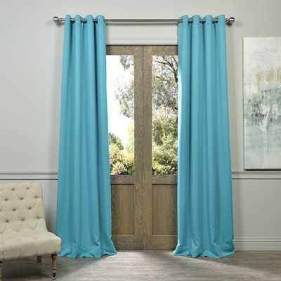 """Plush Grommet Blackout Curtain Pair - Aqua, 120""""L - Wayfair"""