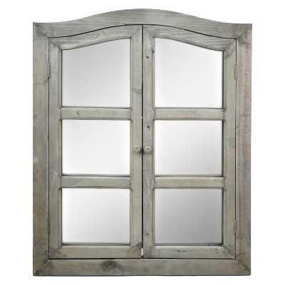 Dark Wood 2-Door Window Pane Wall Mirror - Target