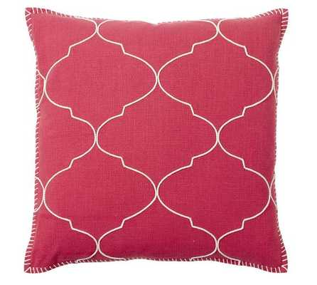 """Tile Embroidered Pillow - 22""""sq - Red - No insert - Pottery Barn"""