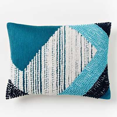"Striped Angled Crewel Pillow Cover - Blue Teal-12""w x 16""l- Insert Sold Separately - West Elm"